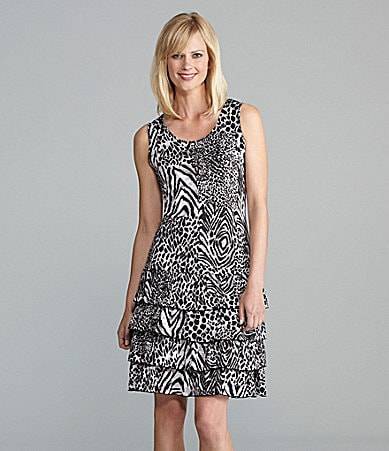 Peter Nygard Steel Jungle Ruffle Tank Dress