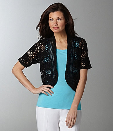 Peter Nygard Woman Hand Crochet Shrug