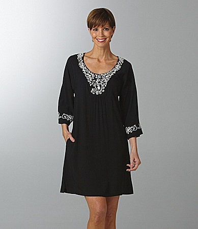 Patio Casuals by Cabernet Embroidered Rayon Lounge Dress