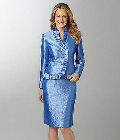 Kasper 2-Piece Hammered Satin Skirted Suit