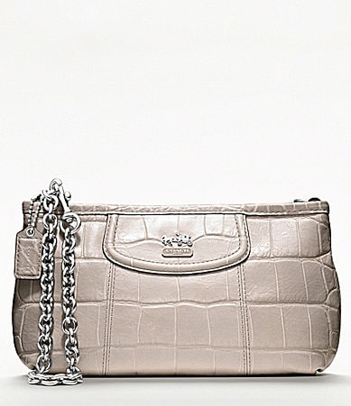 COACH MADISON EMBOSSED CROC LARGE WRISTLET WITH CHAIN