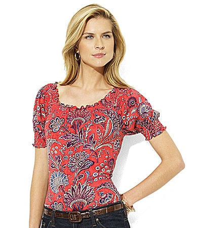 Lauren by Ralph Lauren Petites Vox Smocked Jersey Top