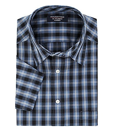 Roundtree & Yorke Big & Tall Classic Easy Care Plaid Sportshirt