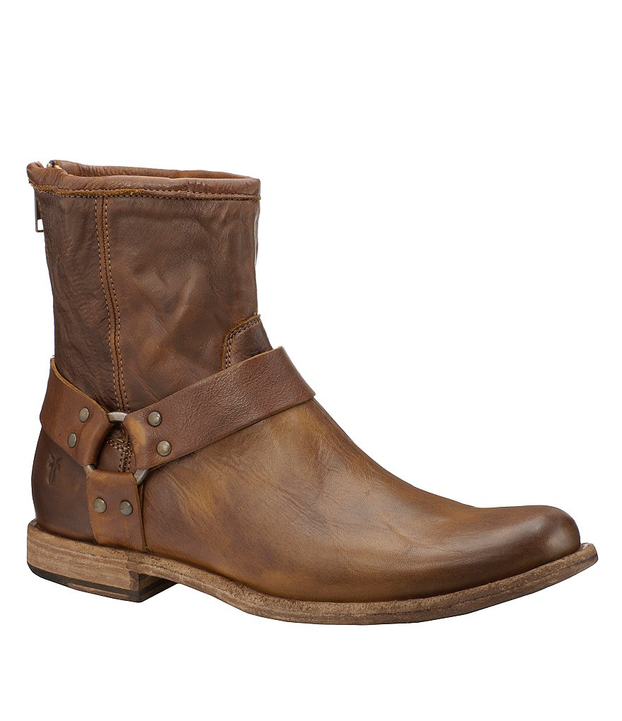 Frye Phillip Harness Leather Zip-Back Boots