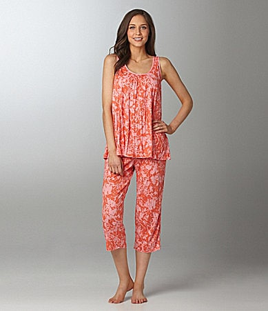 AK Anne Klein Crinkled and Cool Sleeveless Cropped Pajamas