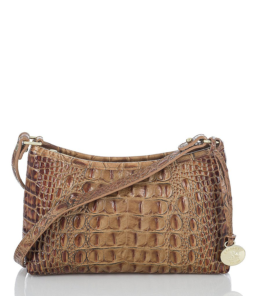 Brahmin Toasted Almond Collection Anytime Croco-Embossed Mini Pouch
