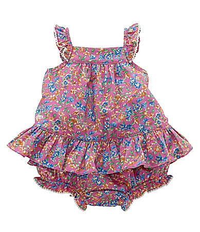 Ralph Lauren Newborn Mixed Floral Dress & Matching Bloomers
