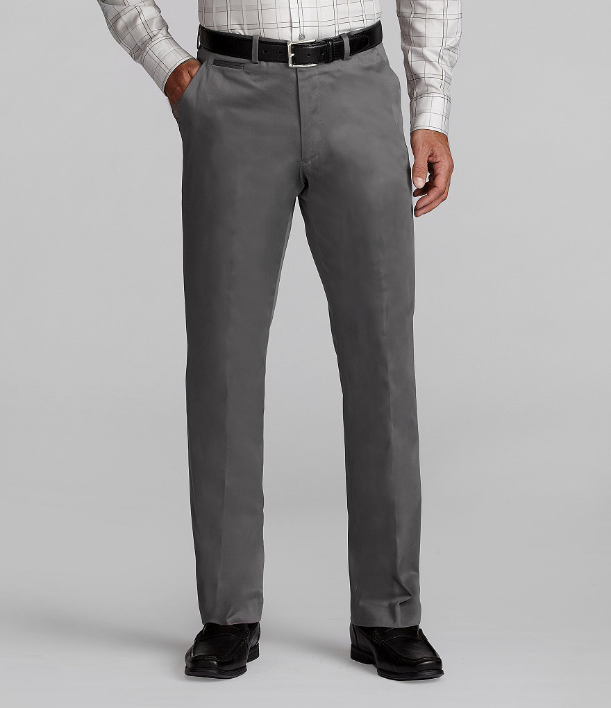 Perry Ellis Sateen Solid Flat-Front Pants