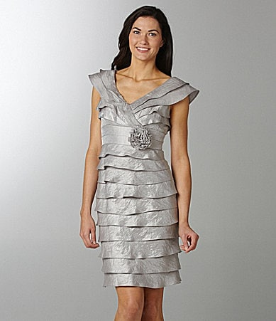 London Times Petites Shimmer Tiered Dress
