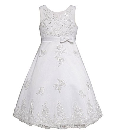 American Princess 7-12 Embroidered Satin Dress