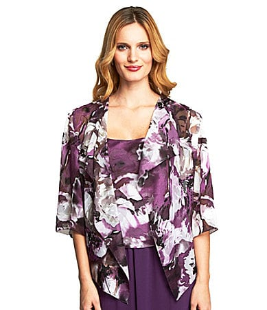 Alex Evenings Floral Print Twin Set