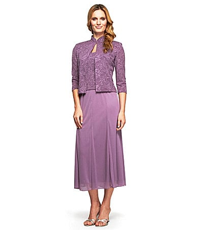 Alex Evenings Woman's Petite Jacquard Jacket Dress