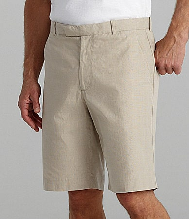 Perry Ellis Cottons Flat Front Mini-Check Shorts