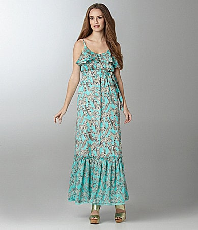 MM Couture by Miss Me Ruffle Feather-Print Maxi Dress
