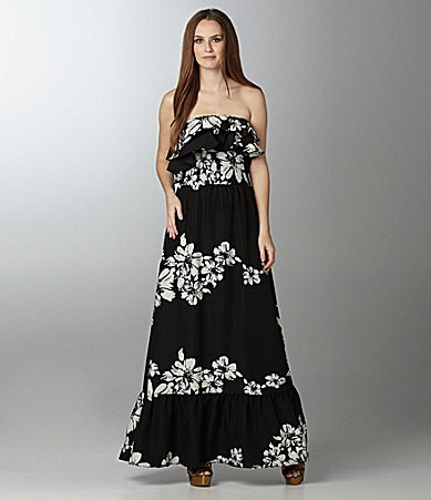 MM Couture by Miss Me Strapless Floral Maxi Dress