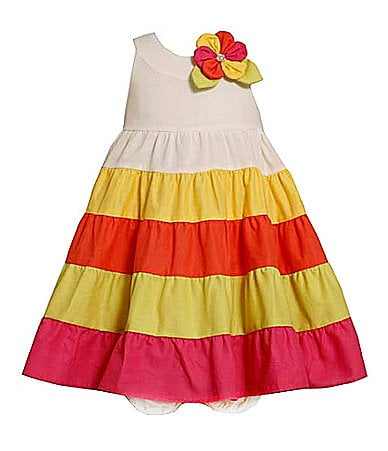 Bonnie Baby Newborn Colorblock Tiered Sundress & Matching Panty