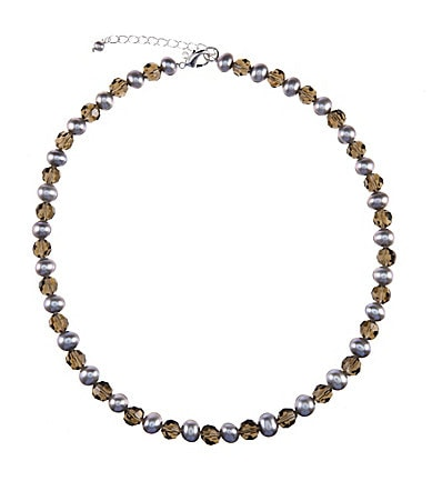 Dillard�s Freshwater Pearl Smokey Grey Necklace