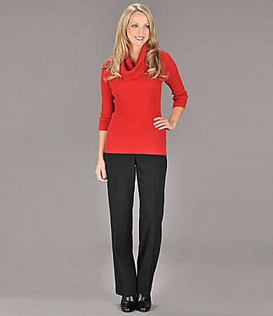 Peter Nygard Metallic Cowlneck Top & Straight-Leg Pants