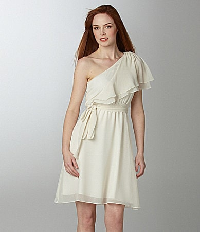 MM Couture by Miss Me One-Shoulder Ruffle Dress