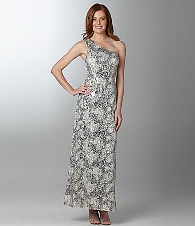 Cachet Animal-Print One-Shoulder Gown
