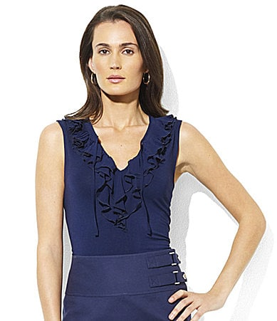 Lauren  Ralph Lauren Woman Stu Sleeveless Ruffle Top