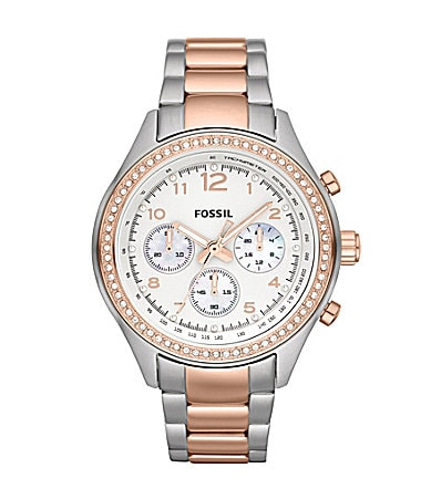 Fossil Silvertone & Rose Goldtone Ladies Chronograph Watch