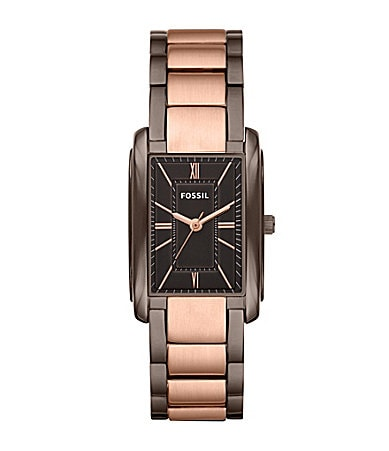 Fossil Two Tone Rectangular-Dial Ladies Dress Watch