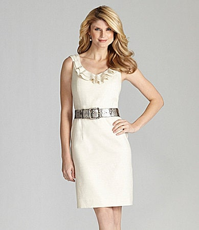 Antonio Melani Linen-Blend Belted Dress