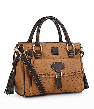 Dooney & Bourke Ostrich-Embossed Medium Pocket Satchel
