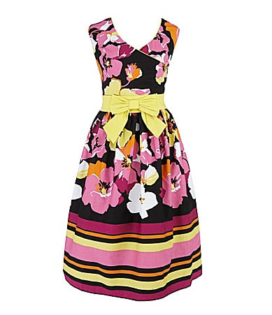 Ruby Rox 7-16 & Plus Sizes Dot/Floral Border-Hem Dress