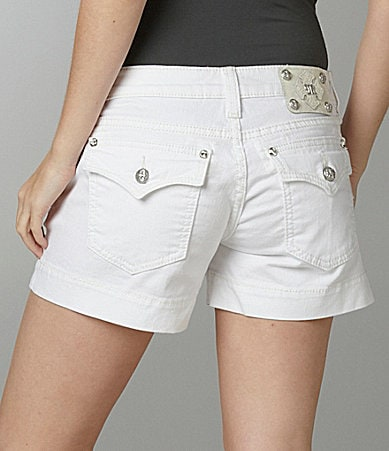 Miss Me Jeans Flap-Pocket Denim Shorts