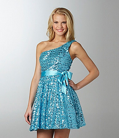 Jodi Kristopher Sequin One-Shoulder Dress