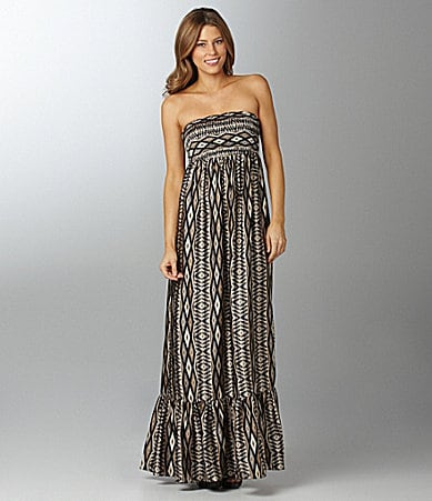 MM Couture by Miss Me Strapless Print Maxi Dress