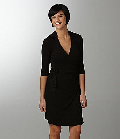 Moa Moa 3/4 Sleeve Wrap Dress