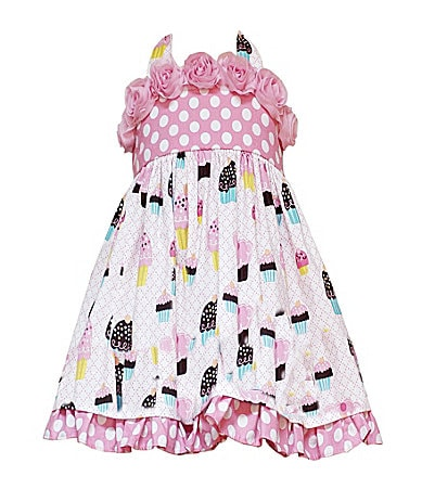 Rare Editions 2T-6X Dot/Cupcake Print Dress