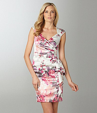 Maggy London Floral Print Satin Dress