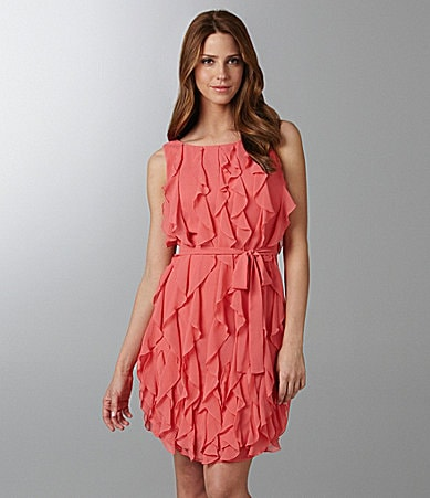 Calvin Klein Ruffle Tie-Waist Dress