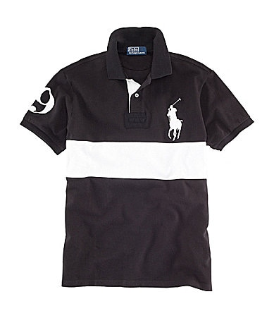 Polo Ralph Lauren Custom-Fit Short-Sleeved Striped Mesh Rugby Polo Shirt