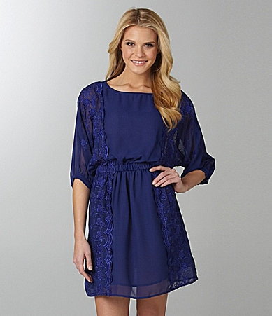 Angie Lace-Inset Dolman Dress