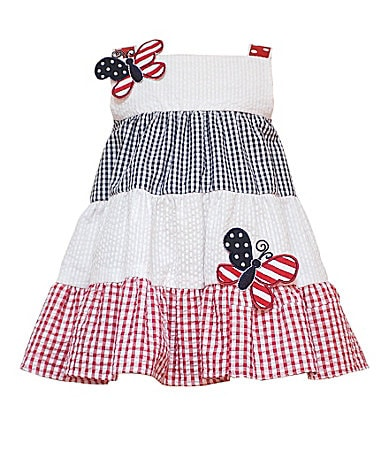 Rare Editions Infant Americana Gingham Print Dress