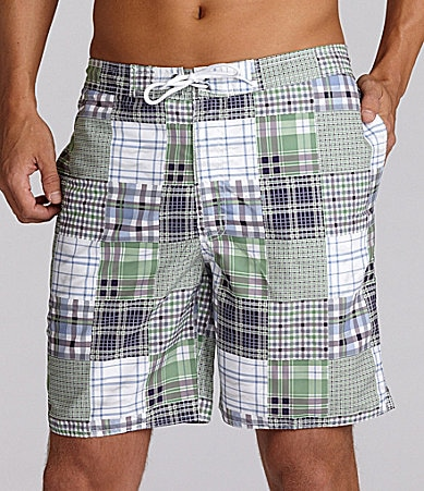 Roundtree & Yorke Big & Tall Plaid Patchwork Swim Trunk