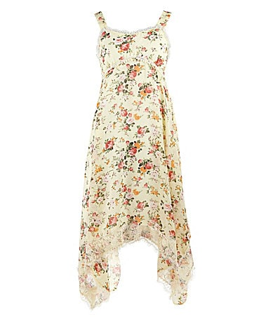 Lemon Fizz 7-16 Hanky Hem Floral Printed Dress