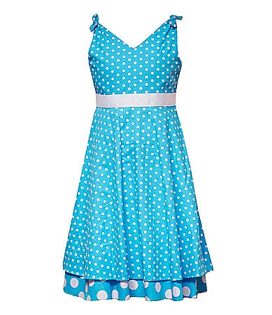 Rare Editions 7-16 Dot Print Woven Dress