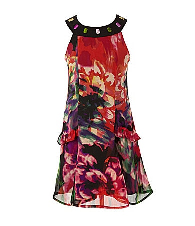 2 Hip by Wrapper 7-16 Design Print Trapeze Dress