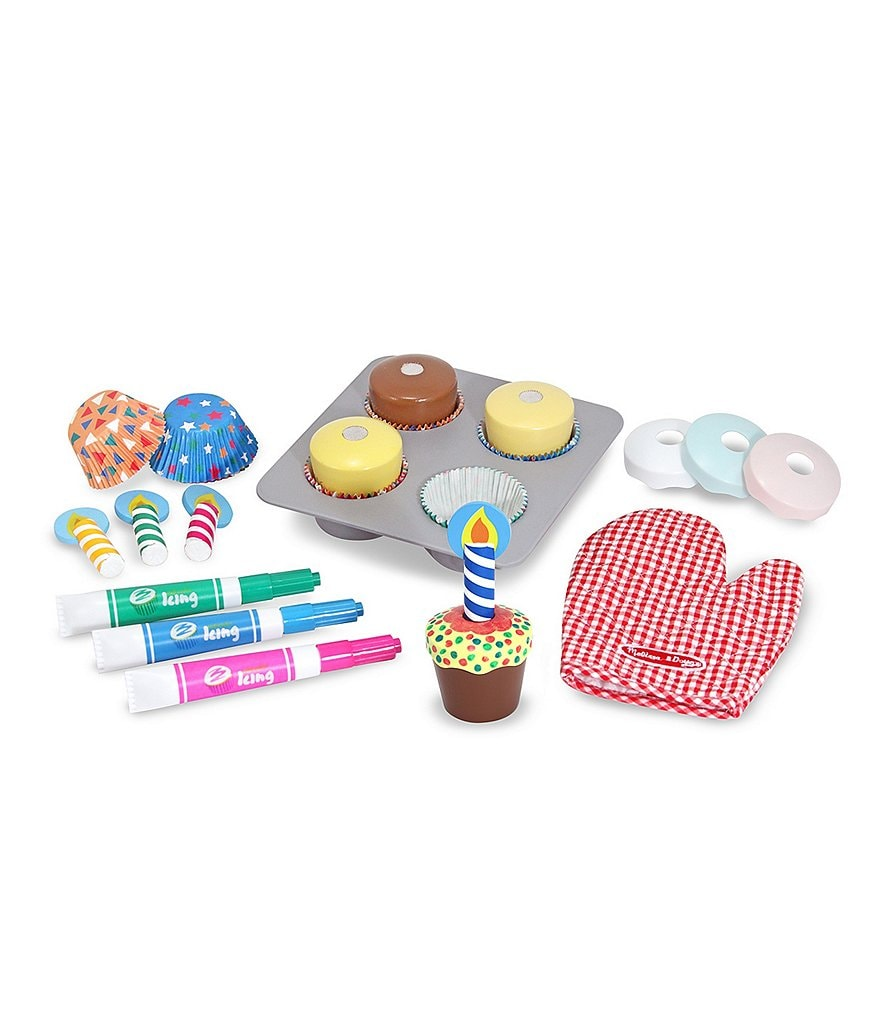 Melissa & Doug Wooden Bake & Decorate Cupcake Set