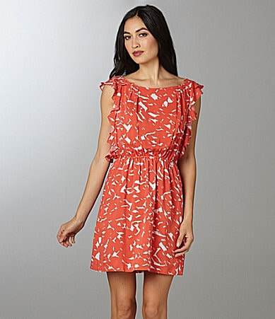 BCBGeneration Ruffle Sleeve Print Dress