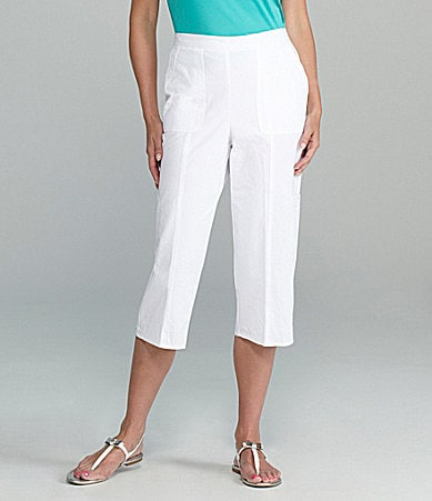 Samantha Grey Embroidered-Pocket Capri Pants