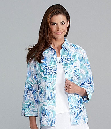 Samantha Grey Printed Watercolor 2-Fer Blouse