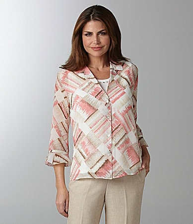 Samantha Grey Box Print 2-Fer Blouse