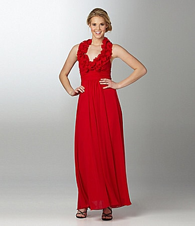 B. Darlin Ruffle-Neck Gown